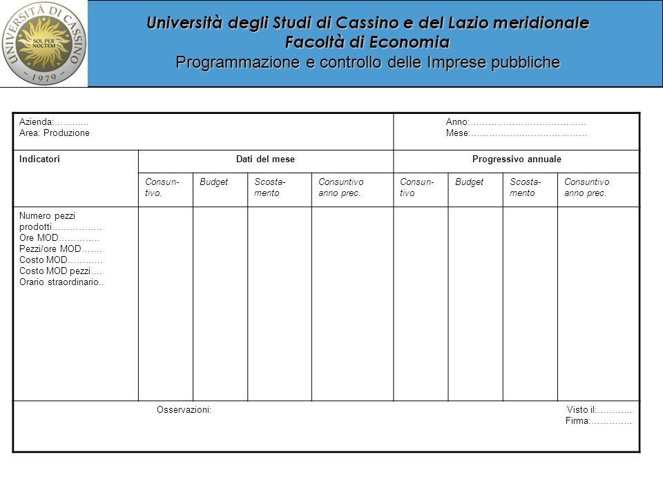 Università degli Studi di Cassino e del Lazio meridionale Facoltà di Economia Programmazione e controllo delle Imprese pubbliche Azienda:……......