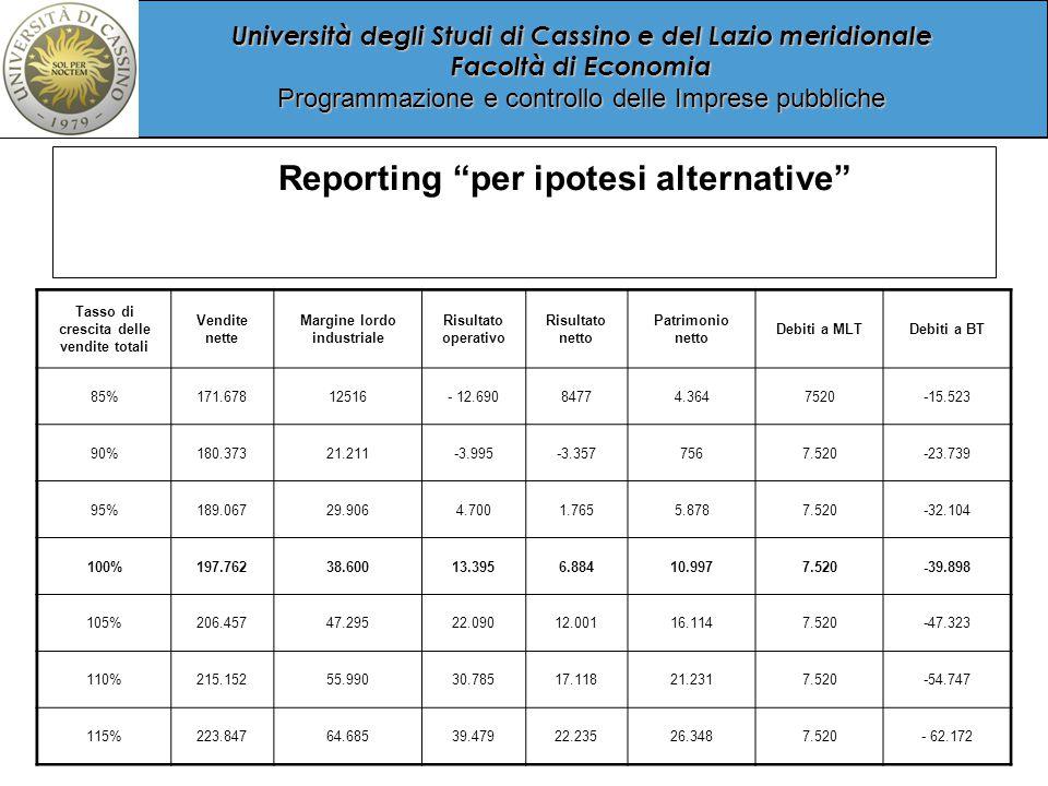 Università degli Studi di Cassino e del Lazio meridionale Facoltà di Economia Programmazione e controllo delle Imprese pubbliche Reporting per ipotesi alternative Tasso di crescita delle vendite totali Vendite nette Margine lordo industriale Risultato operativo Risultato netto Patrimonio netto Debiti a MLTDebiti a BT 85%171.67812516- 12.69084774.3647520-15.523 90%180.37321.211-3.995-3.3577567.520-23.739 95%189.06729.9064.7001.7655.8787.520-32.104 100%197.76238.60013.3956.88410.9977.520-39.898 105%206.45747.29522.09012.00116.1147.520-47.323 110%215.15255.99030.78517.11821.2317.520-54.747 115%223.84764.68539.47922.23526.3487.520- 62.172