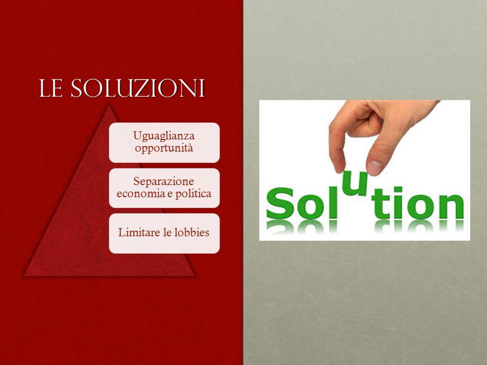 Le soluzioni Uguaglianza opportunità Separazione economia e politica Limitare le lobbies