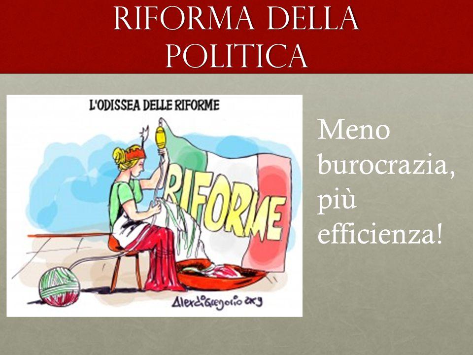 Riforma della politica Meno burocrazia, più efficienza!
