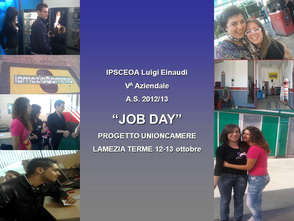 """IPSCEOA Luigi Einaudi V A Aziendale A.S. 2012/13 """"JOB DAY"""" PROGETTO UNIONCAMERE LAMEZIA TERME 12-13 ottobre"""