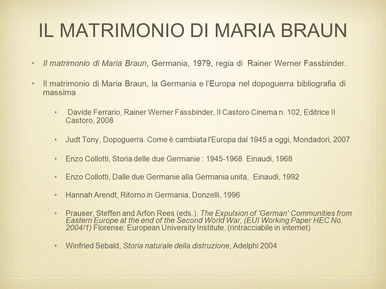 IL MATRIMONIO DI MARIA BRAUN Il matrimonio di Maria Braun, Germania, 1979, regia di Rainer Werner Fassbinder.