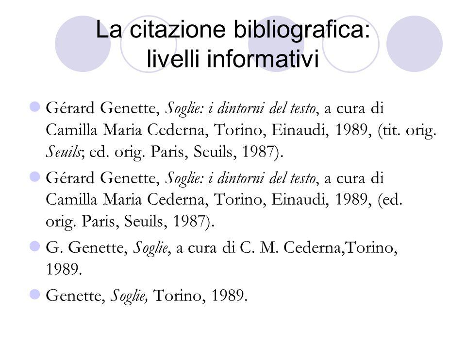 La citazione bibliografica: livelli informativi Gérard Genette, Soglie: i dintorni del testo, a cura di Camilla Maria Cederna, Torino, Einaudi, 1989, (tit.