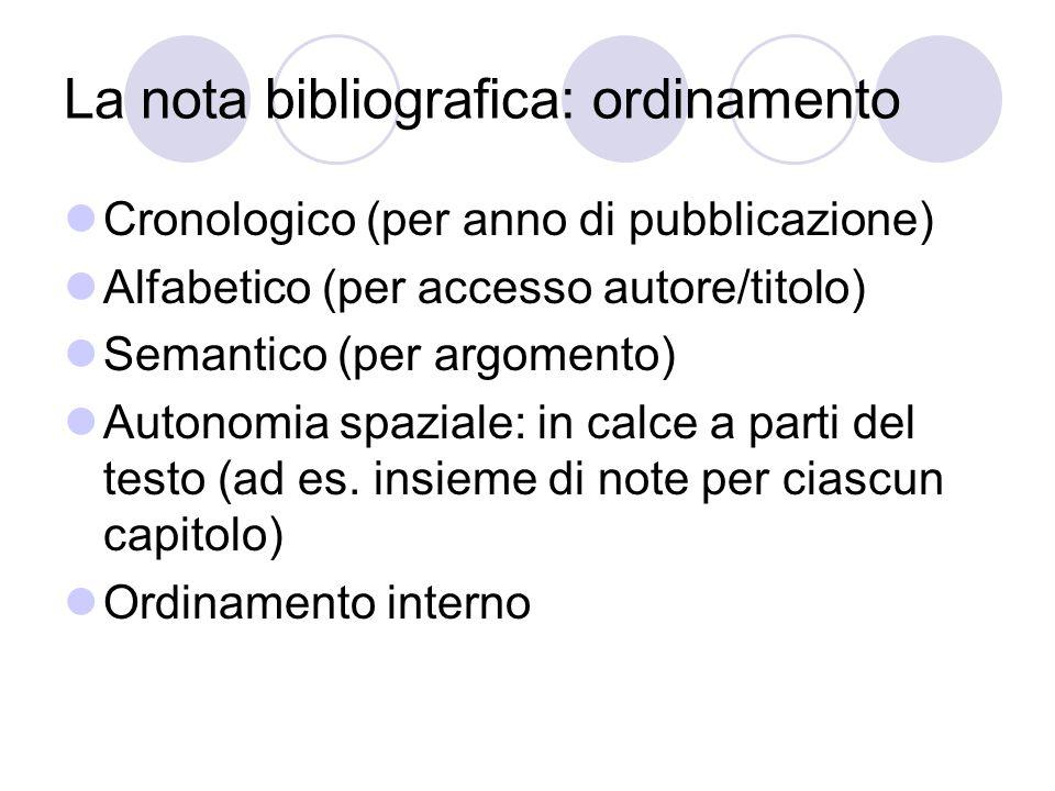 La nota bibliografica: ordinamento Cronologico (per anno di pubblicazione) Alfabetico (per accesso autore/titolo) Semantico (per argomento) Autonomia spaziale: in calce a parti del testo (ad es.