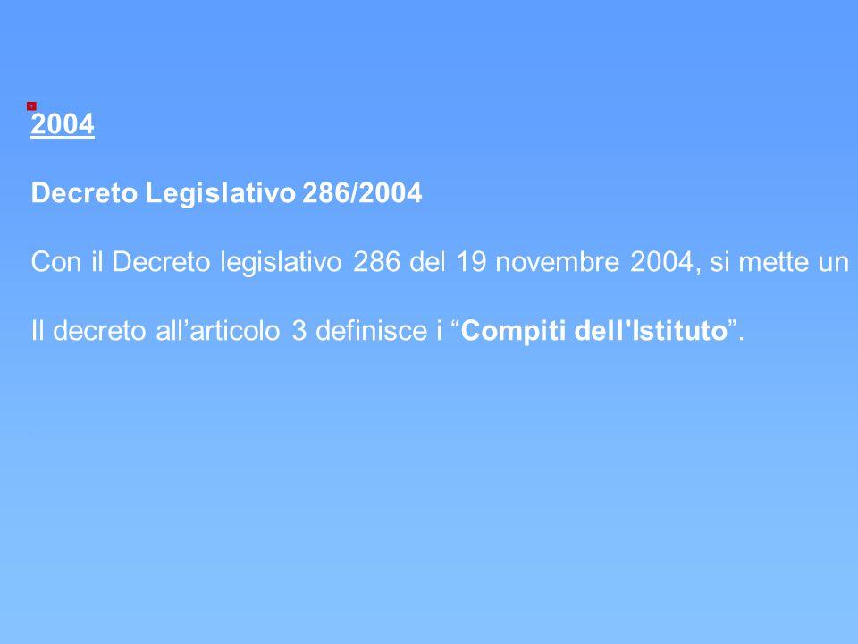 2004 Decreto Legislativo 286/2004 Con il Decreto legislativo 286 del 19 novembre 2004, si mette un punto di riferimento chiaro attraverso l'Istituzion