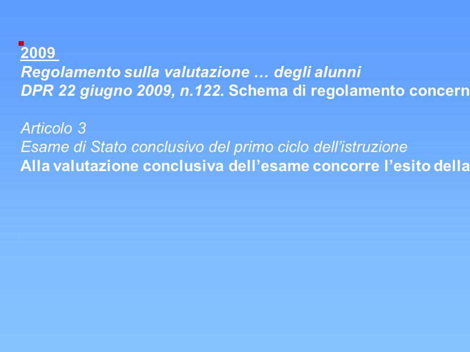 """2009 Regolamento sulla valutazione … degli alunni DPR 22 giugno 2009, n.122. Schema di regolamento concernente """"Coordinamento delle norme vigenti per"""