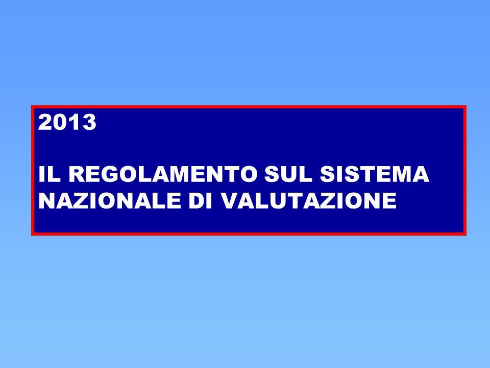 2013 IL REGOLAMENTO SUL SISTEMA NAZIONALE DI VALUTAZIONE