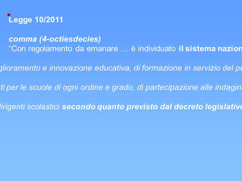 """Legge 10/2011 comma (4-octiesdecies) """"Con regolamento da emanare … è individuato il sistema nazionale di valutazione che si articola: a)nell'istituto"""