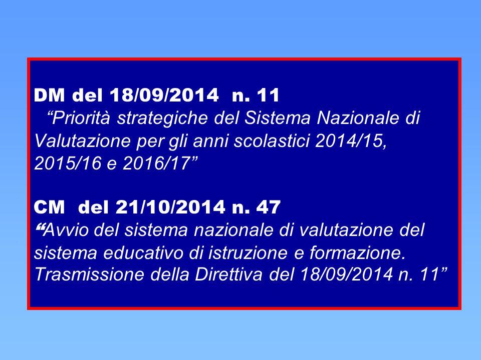 """DM del 18/09/2014 n. 11 """"Priorità strategiche del Sistema Nazionale di Valutazione per gli anni scolastici 2014/15, 2015/16 e 2016/17"""" CM del 21/10/20"""