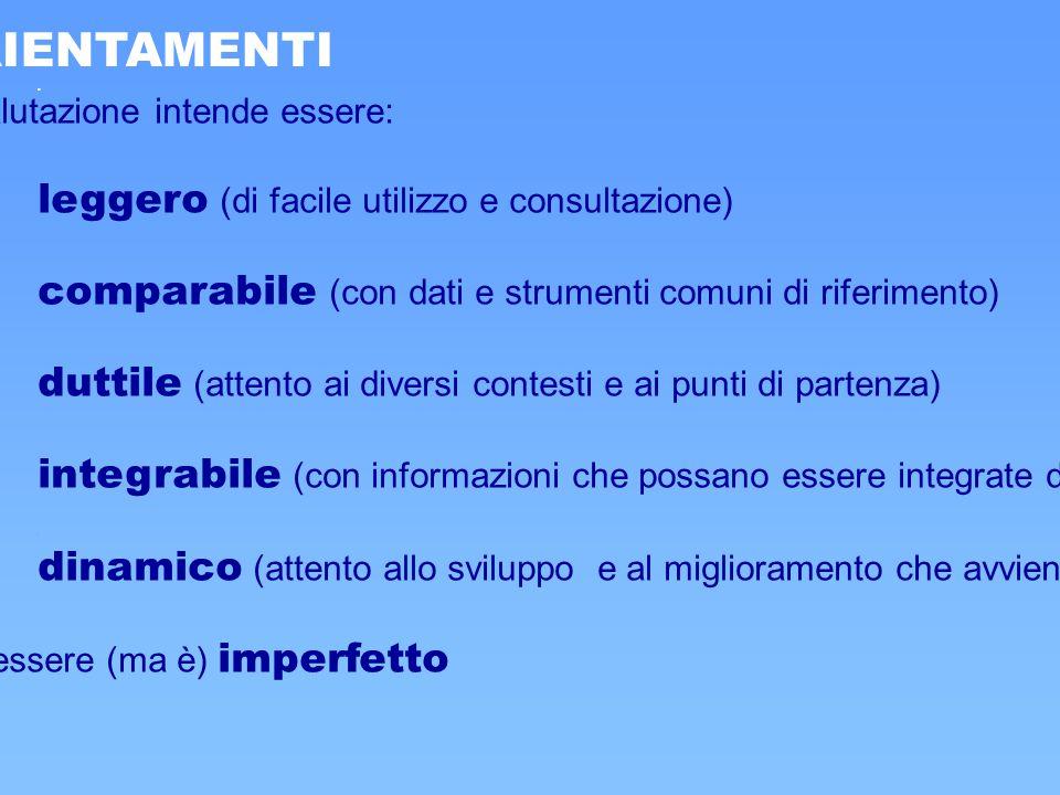 1. ORIENTAMENTI Tutto il sistema di valutazione intende essere: leggero (di facile utilizzo e consultazione) comparabile (con dati e strumenti comuni