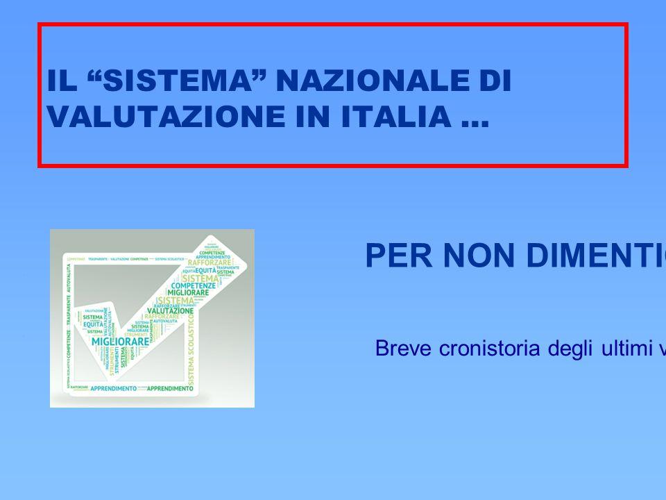 """IL """"SISTEMA"""" NAZIONALE DI VALUTAZIONE IN ITALIA … Breve cronistoria degli ultimi venticinque anni … PER NON DIMENTICARE"""