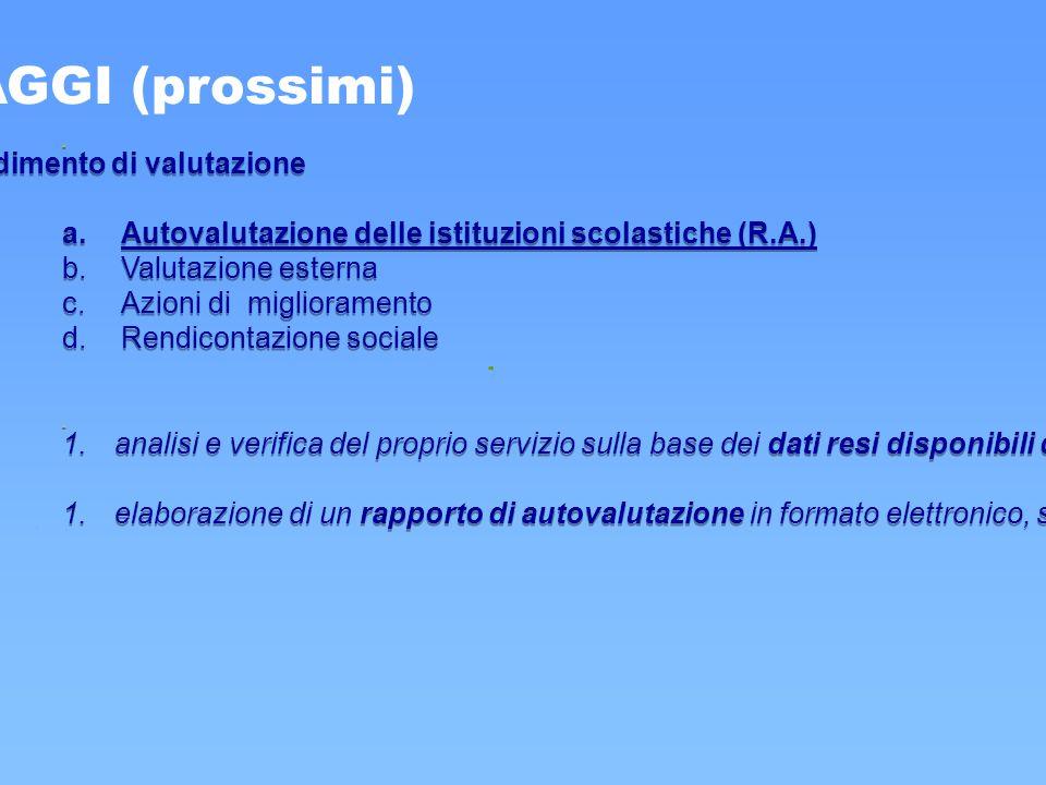 Art. 6: procedimento di valutazione a.Autovalutazione delle istituzioni scolastiche (R.A.) b.Valutazione esterna c.Azioni di miglioramento d.Rendicont