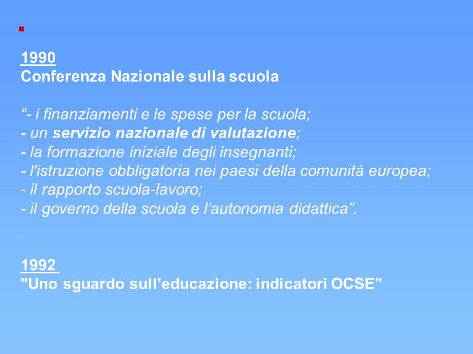 """1990 Conferenza Nazionale sulla scuola """"- i finanziamenti e le spese per la scuola; - un servizio nazionale di valutazione; - la formazione iniziale d"""