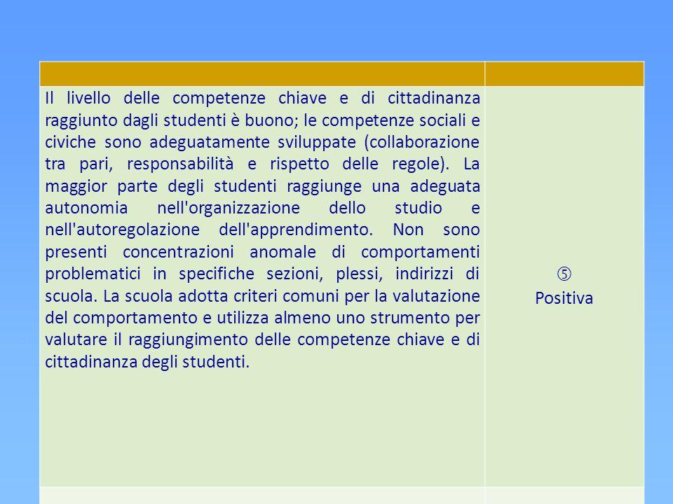 Il livello delle competenze chiave e di cittadinanza raggiunto dagli studenti è buono; le competenze sociali e civiche sono adeguatamente sviluppate (