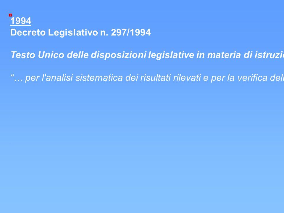 """1994 Decreto Legislativo n. 297/1994 Testo Unico delle disposizioni legislative in materia di istruzione; art. 603: """"Parametri di valutazione della pr"""