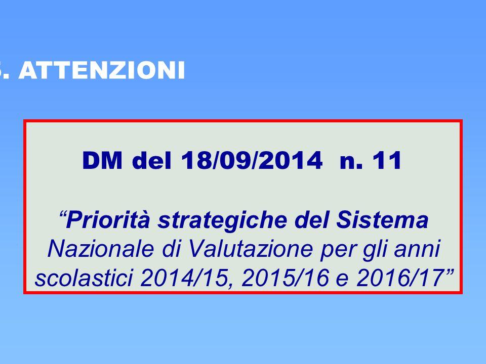 """5. ATTENZIONI DM del 18/09/2014 n. 11 """"Priorità strategiche del Sistema Nazionale di Valutazione per gli anni scolastici 2014/15, 2015/16 e 2016/17"""""""