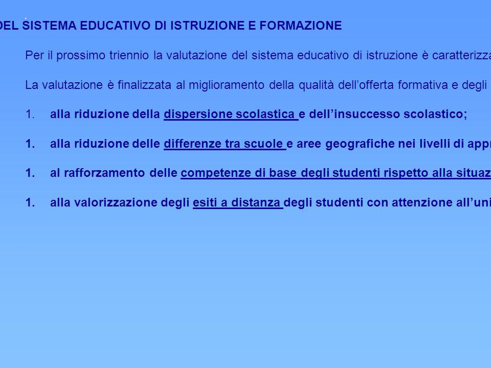 PRIORITA' STRATEGICHE DELLA VALUTAZIONE DEL SISTEMA EDUCATIVO DI ISTRUZIONE E FORMAZIONE Per il prossimo triennio la valutazione del sistema educativo