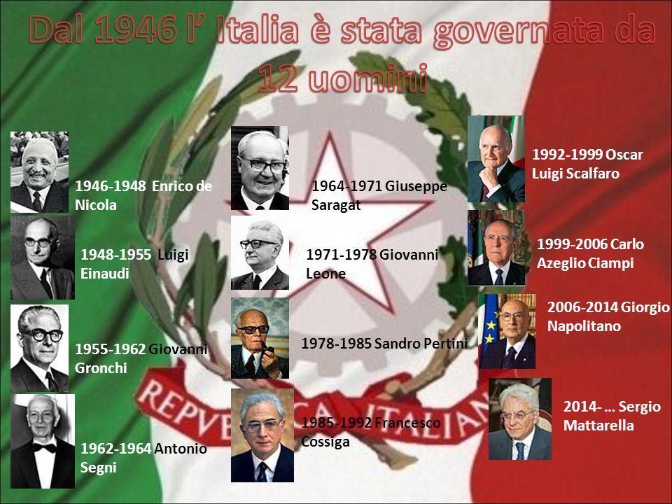 2006-2014 Giorgio Napolitano 1946-1948 Enrico de Nicola 1948-1955 Luigi Einaudi 1955-1962 Giovanni Gronchi 1962-1964 Antonio Segni 1964-1971 Giuseppe