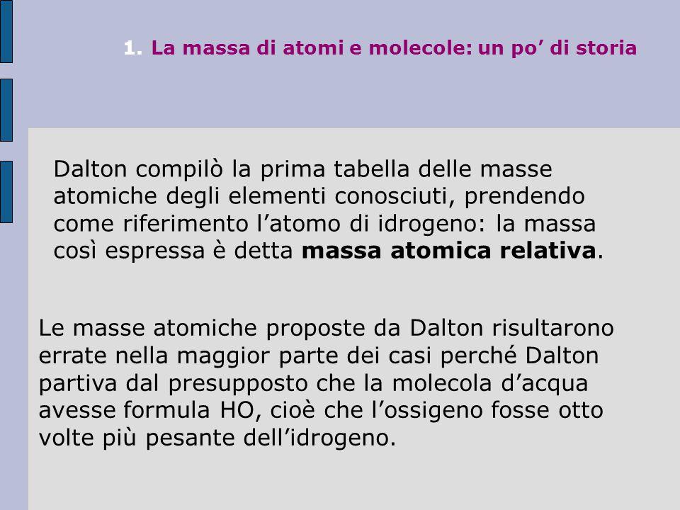 1.La massa di atomi e molecole: un po' di storia Dalton compilò la prima tabella delle masse atomiche degli elementi conosciuti, prendendo come riferimento l'atomo di idrogeno: la massa così espressa è detta massa atomica relativa.