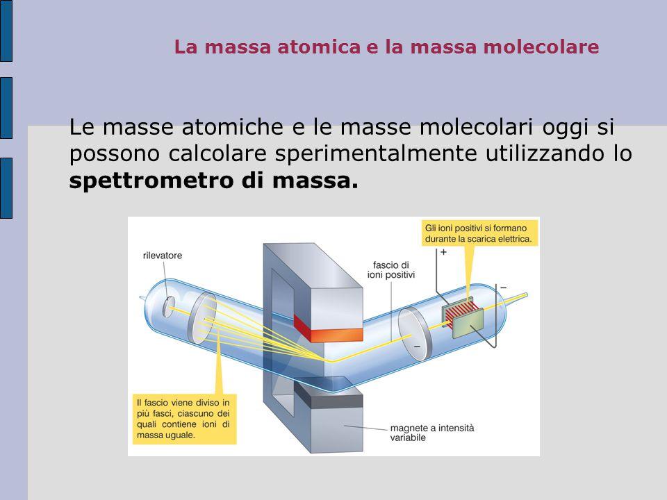 4.La massa atomica e la massa molecolare La massa atomica di un elemento è la massa relativa rispetto all'atomo di 12C.