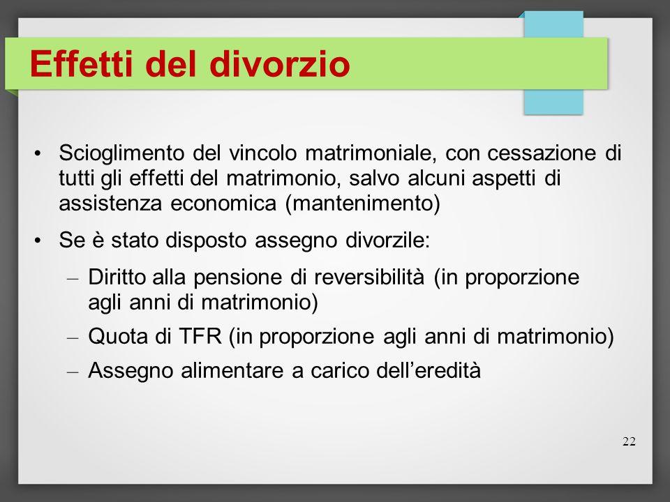 Effetti del divorzio Scioglimento del vincolo matrimoniale, con cessazione di tutti gli effetti del matrimonio, salvo alcuni aspetti di assistenza eco