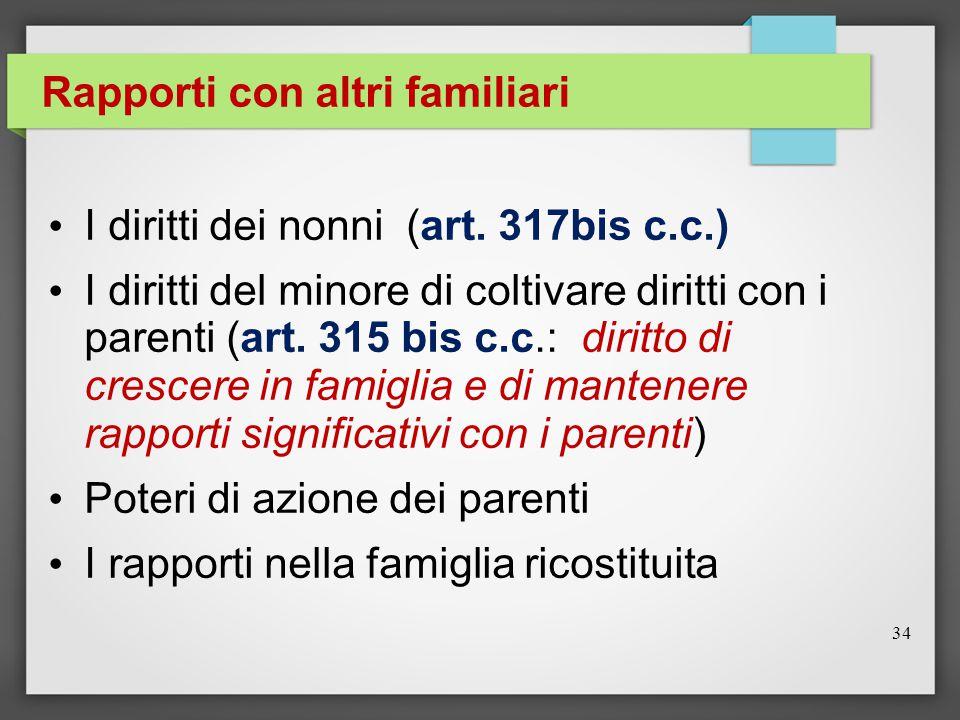 Rapporti con altri familiari I diritti dei nonni (art.