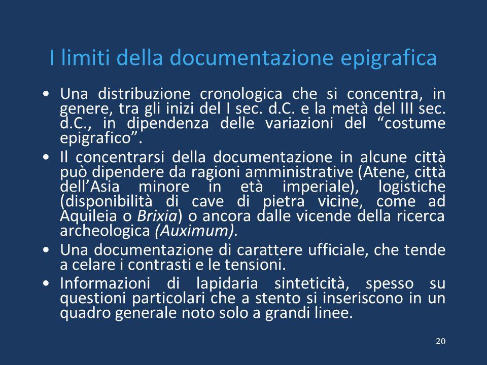 20 I limiti della documentazione epigrafica Una distribuzione cronologica che si concentra, in genere, tra gli inizi del I sec.
