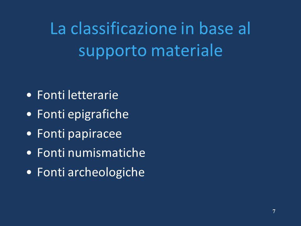 7 La classificazione in base al supporto materiale Fonti letterarie Fonti epigrafiche Fonti papiracee Fonti numismatiche Fonti archeologiche