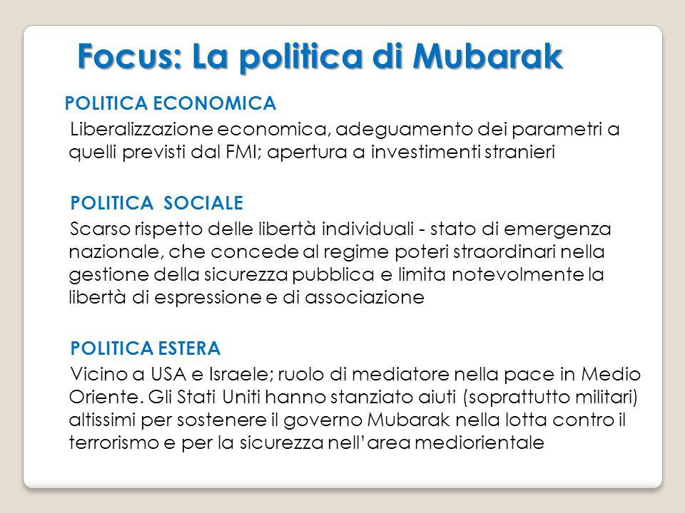 Focus: La politica di Mubarak Focus: La politica di Mubarak POLITICA ECONOMICA Liberalizzazione economica, adeguamento dei parametri a quelli previsti