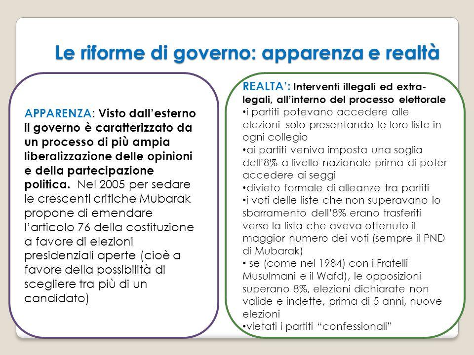 Le riforme di governo: apparenza e realtà APPARENZA : Visto dall'esterno il governo è caratterizzato da un processo di più ampia liberalizzazione dell