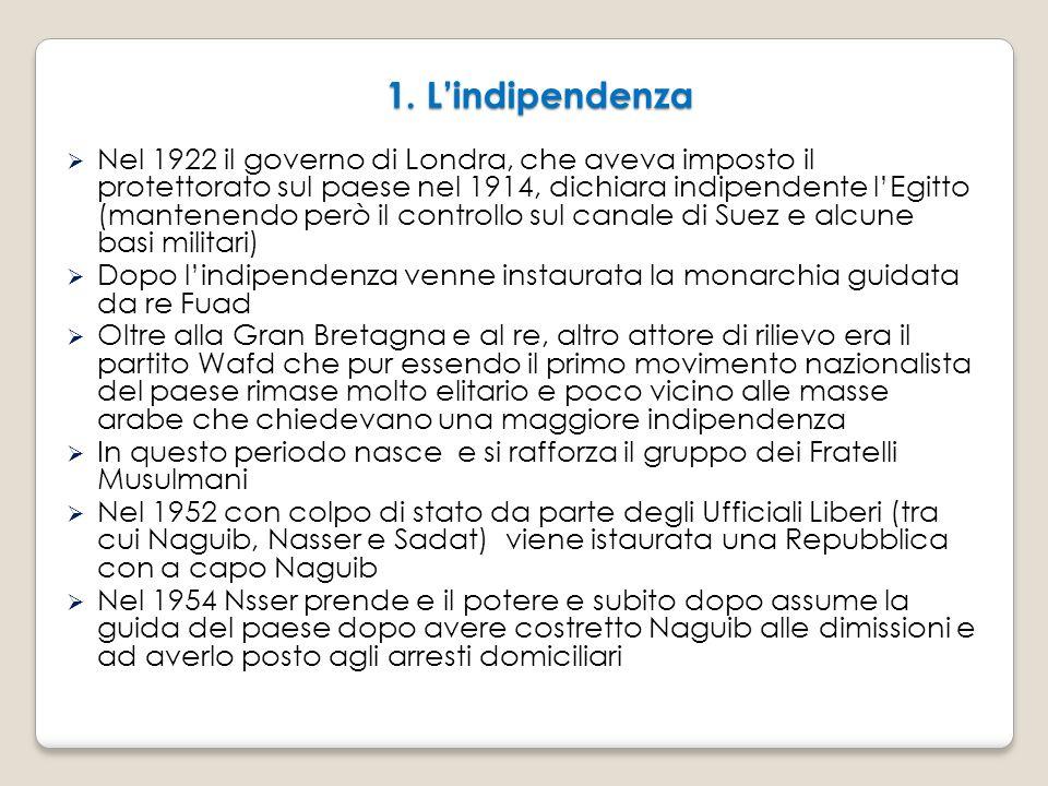 1. L'indipendenza  Nel 1922 il governo di Londra, che aveva imposto il protettorato sul paese nel 1914, dichiara indipendente l'Egitto (mantenendo pe