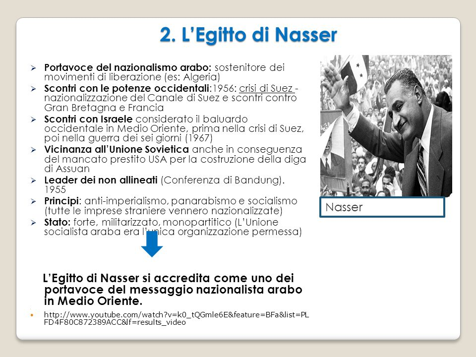 2. L'Egitto di Nasser  Portavoce del nazionalismo arabo: sostenitore dei movimenti di liberazione (es: Algeria)  Scontri con le potenze occidentali