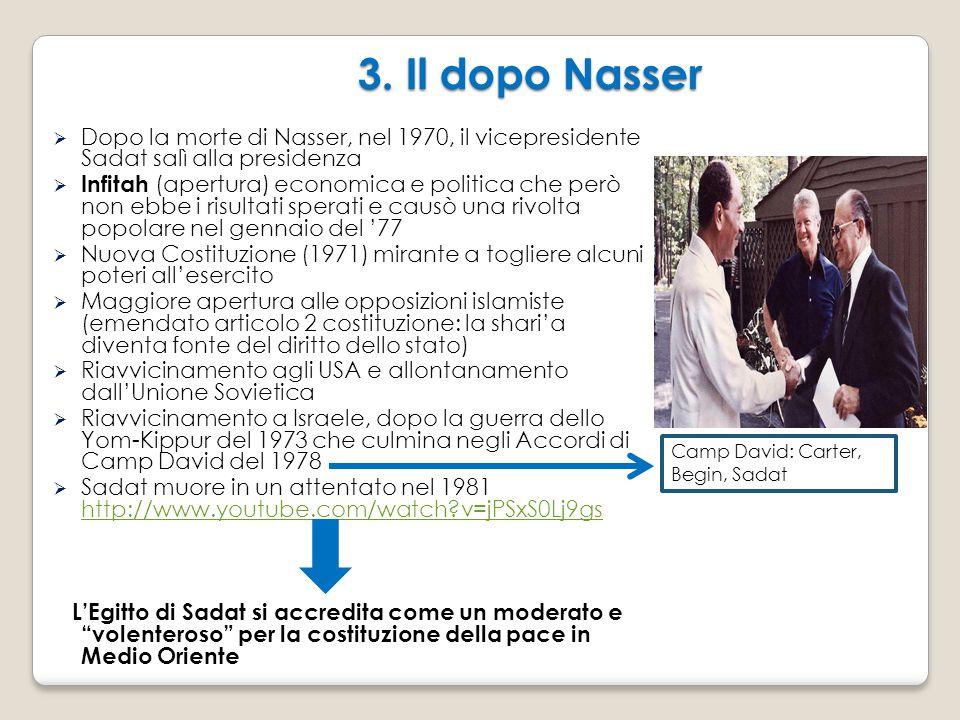 3. Il dopo Nasser  Dopo la morte di Nasser, nel 1970, il vicepresidente Sadat salì alla presidenza  Infitah (apertura) economica e politica che però