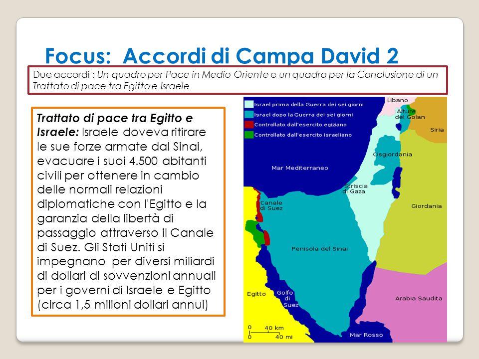 Focus: Accordi di Campa David 2 Due accordi : Un quadro per Pace in Medio Oriente e un quadro per la Conclusione di un Trattato di pace tra Egitto e I