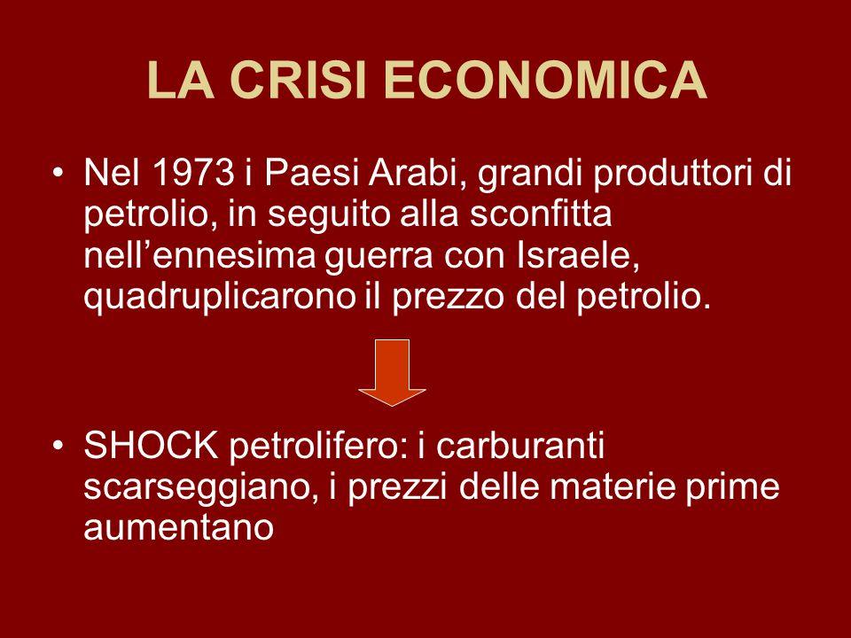 LA CRISI ECONOMICA Nel 1973 i Paesi Arabi, grandi produttori di petrolio, in seguito alla sconfitta nell'ennesima guerra con Israele, quadruplicarono