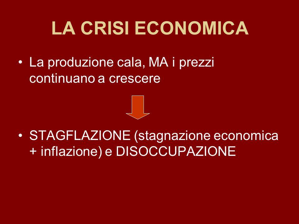 LA CRISI ECONOMICA La produzione cala, MA i prezzi continuano a crescere STAGFLAZIONE (stagnazione economica + inflazione) e DISOCCUPAZIONE