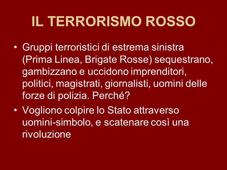 IL TERRORISMO ROSSO Gruppi terroristici di estrema sinistra (Prima Linea, Brigate Rosse) sequestrano, gambizzano e uccidono imprenditori, politici, ma