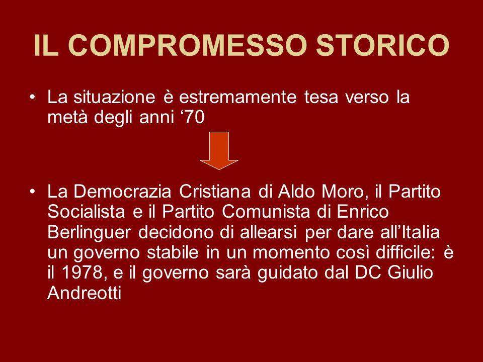 IL COMPROMESSO STORICO La situazione è estremamente tesa verso la metà degli anni '70 La Democrazia Cristiana di Aldo Moro, il Partito Socialista e il