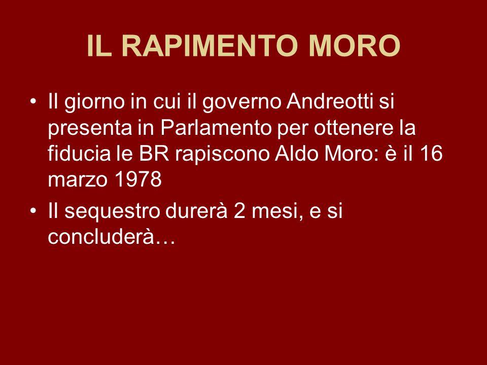 IL RAPIMENTO MORO Il giorno in cui il governo Andreotti si presenta in Parlamento per ottenere la fiducia le BR rapiscono Aldo Moro: è il 16 marzo 197