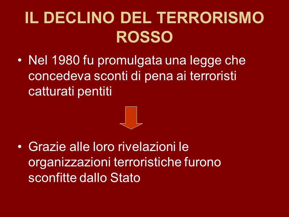 IL DECLINO DEL TERRORISMO ROSSO Nel 1980 fu promulgata una legge che concedeva sconti di pena ai terroristi catturati pentiti Grazie alle loro rivelaz