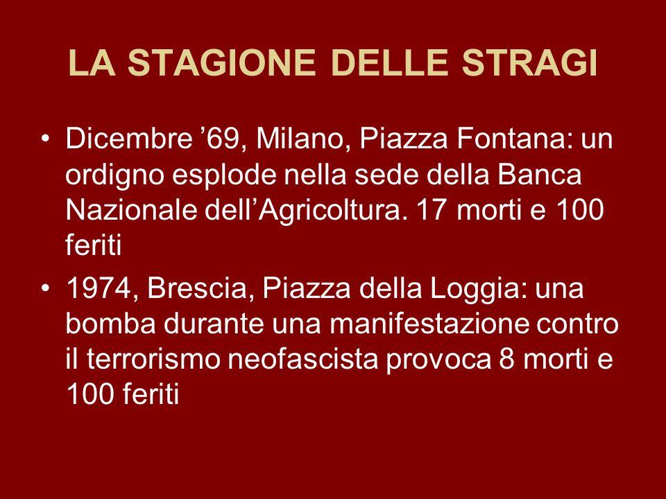 LA STAGIONE DELLE STRAGI Dicembre '69, Milano, Piazza Fontana: un ordigno esplode nella sede della Banca Nazionale dell'Agricoltura. 17 morti e 100 fe