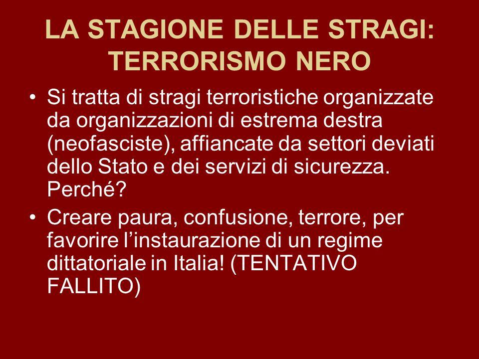 LA STAGIONE DELLE STRAGI: TERRORISMO NERO Si tratta di stragi terroristiche organizzate da organizzazioni di estrema destra (neofasciste), affiancate