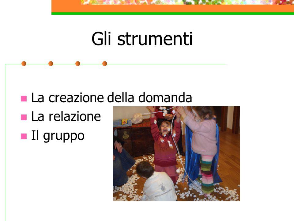 Gli strumenti La creazione della domanda La relazione Il gruppo