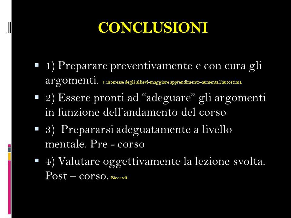 CONCLUSIONI  1) Preparare preventivamente e con cura gli argomenti.