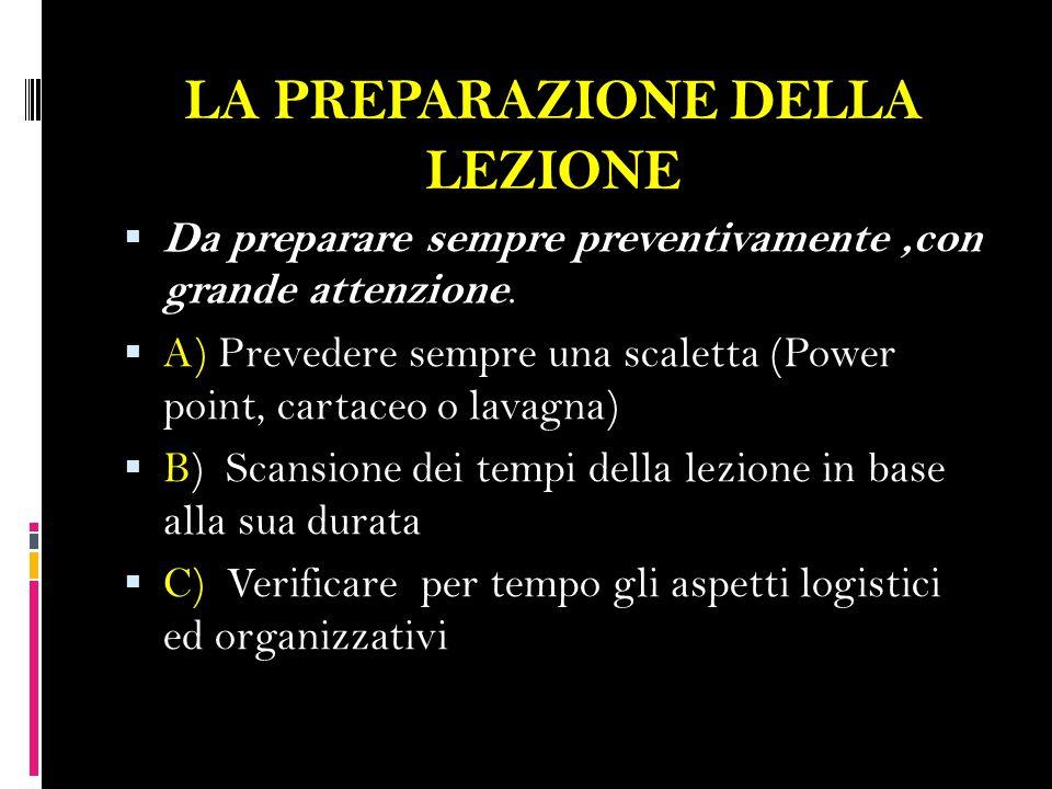 LA CONDUZIONE DELLA LEZIONE  1) Fase introduttiva : spiegazione degli obiettivi; sviluppare nei corsisti la giusta motivazione.