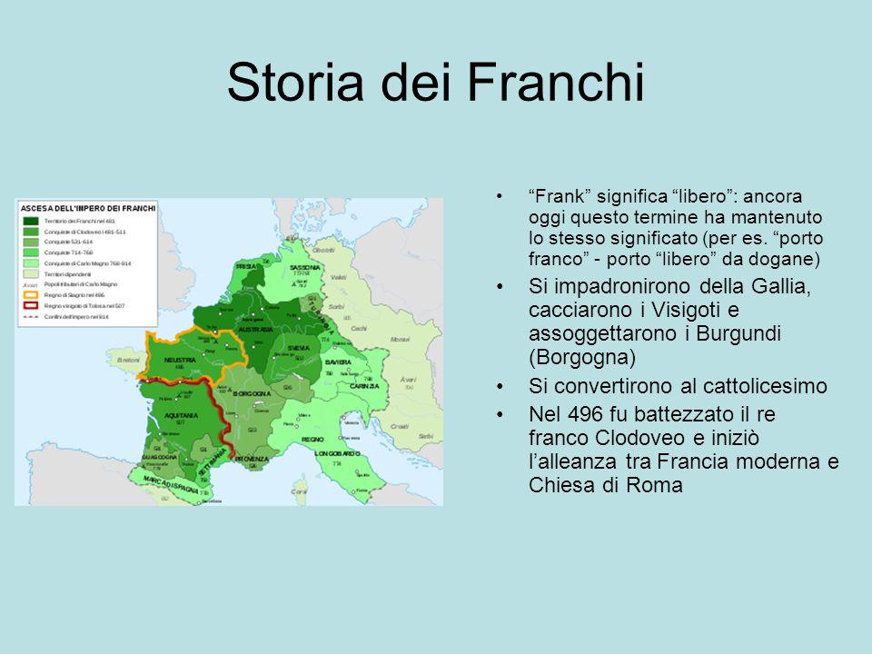 """Storia dei Franchi """"Frank"""" significa """"libero"""": ancora oggi questo termine ha mantenuto lo stesso significato (per es. """"porto franco"""" - porto """"libero"""""""
