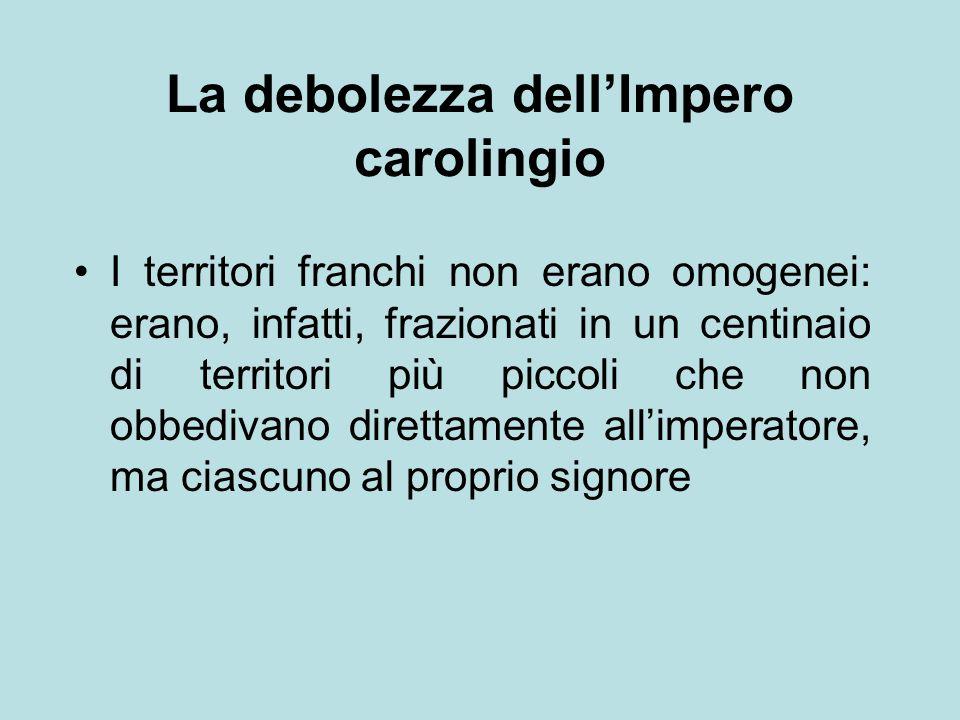 La debolezza dell'Impero carolingio I territori franchi non erano omogenei: erano, infatti, frazionati in un centinaio di territori più piccoli che no