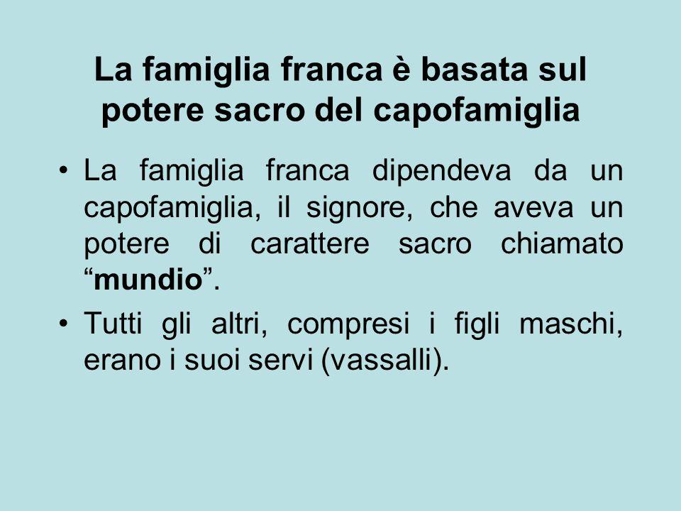 La famiglia franca è basata sul potere sacro del capofamiglia La famiglia franca dipendeva da un capofamiglia, il signore, che aveva un potere di cara