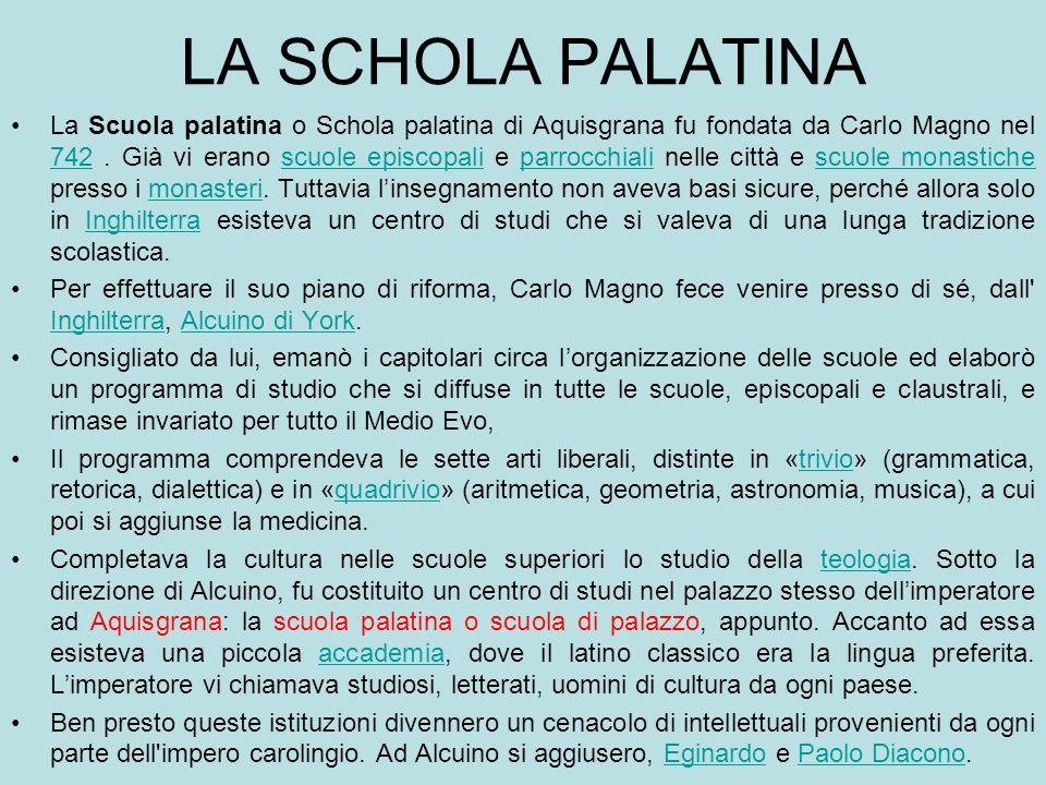 LA SCHOLA PALATINA La Scuola palatina o Schola palatina di Aquisgrana fu fondata da Carlo Magno nel 742. Già vi erano scuole episcopali e parrocchiali