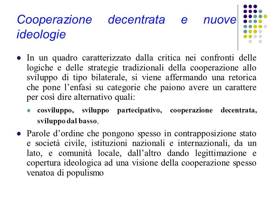 La cooperazione decentrata Gli anni '90 vedono l'affermarsi di un altro processo nell'ambito della cooperazione allo sviluppo e dell'aiuto umanitario: la cosiddetta cooperazione decentrata.
